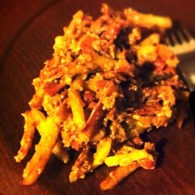 Revuelto gramajo - Un régal qui plaira à coup sûr à tous les amateurs des frites, du jambon et des œufs !