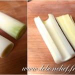 Gratin de poireaux aux lardons - Préparation des poireaux.