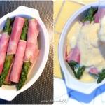 Gratin d'asperges au jambon - Dans un plat à gratin disposer les asperges en alternant le sens de la tète et verser le mélange dessus.