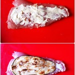 Roulés de dinde aux herbes et aubergine - Etaler le fromage sur les escalopes à l'aide d'une spatule ou d'un couteau d'office.