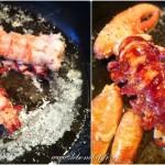 Salade de homard rôti, vieilles tomates et mozzarella - Laisser colorer d'un côté les queues avant de les retourner.