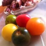 Salade de homard rôti, vieilles tomates et mozzarella - Les différentes variétés de tomate.