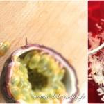 Ananas meringué et ses fruits exotiques - Couper le fruit de la passion en deux avec un couteau scie.