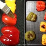 Crostini aux poivrons et chèvre frais - Cette étape permet de ramollir la peau des poivrons.