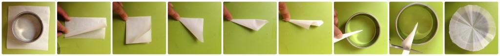 Tarte aux nectarines et perles de groseilles blanches - Réalisation des disques en papier sulfurisé.