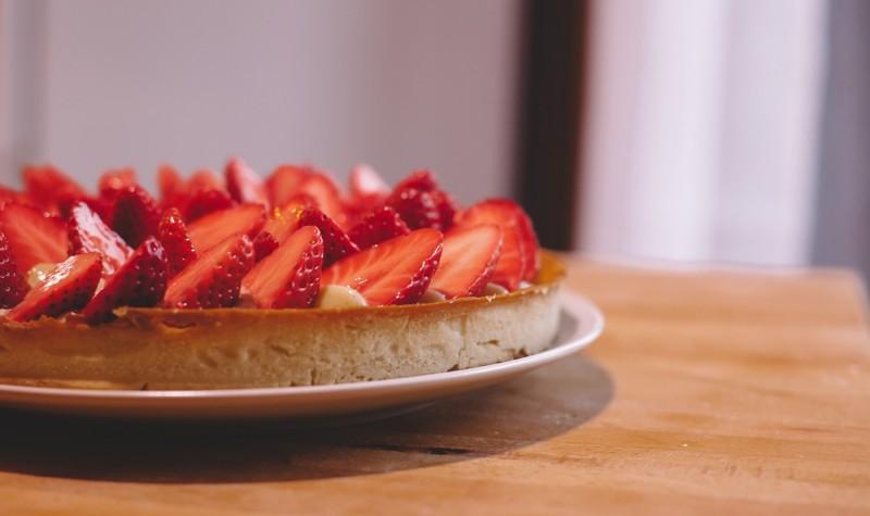 Tarte aux fraises - Le dessert incontournable de l' été : la tarte aux fraises ! (Photo : Elodie Davis).