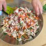 Salade de la mer à l'italienne - Montage de la salade.
