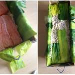 Terrine de saumon, noisettes et poireaux - Montage de la terrine.